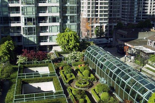 Roof, Garden, Plants, Trees, Flowers, Building