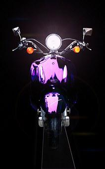 Motorcycle, Roller, Purple, Retro, Vintage, Honda