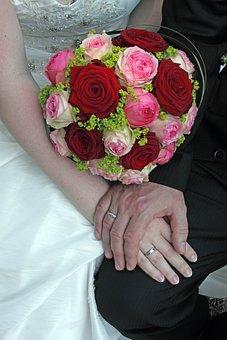 Wedding, Bridal Bouquet, Hands, Wedding Rings