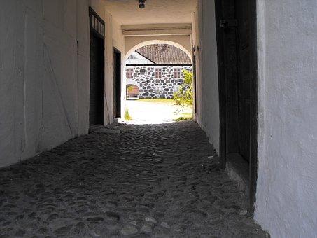 Stengång, Cobblestone, Castle, Passage, Stable