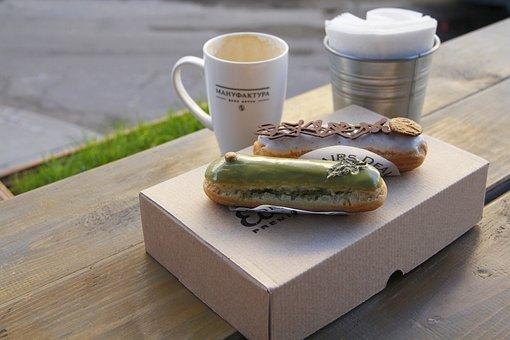 Coffee, Dessert, Coffee House, Eclairs