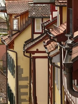 Houses, Roofs, Gable, Facades, Building, City