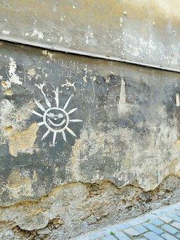 Czech Republic, Graphiti, Sun, Old, Wall