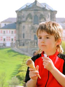 Boy, Ice Cream, Cycling Trip, Pause, Trip, Portrait