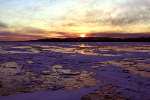 Sunset, Winter Baikal, Ice