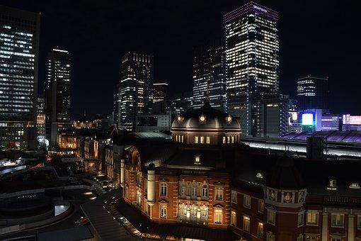 Tokyo Train Station, Night, Railway, Scenery, Evening