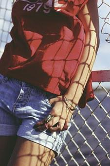 Red, Blouse, Jeans, Shorts, Jewellery, Jewelry, Ring