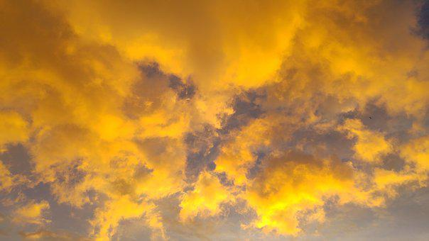Golden, Clouds, Huoshao, Sunset, The Color Of The Sky
