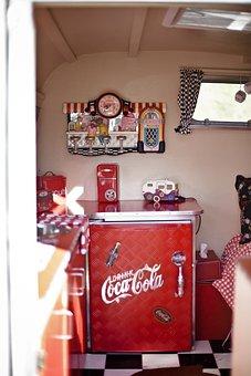Coca Cola, Rv, Refrigerator, Vintage, Car, Classic