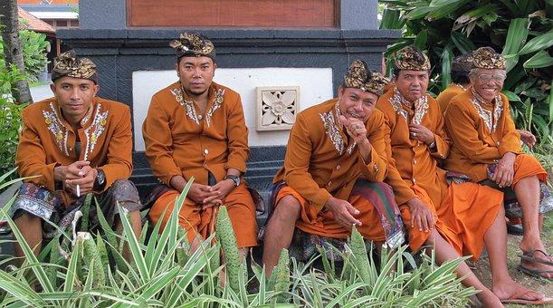 Men, Bali, Waiters, Service, Traditional