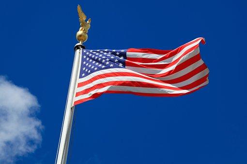 Flag, United States, July, America, American, Blue