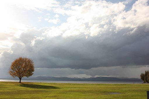 Lake Champlain, Autumn, Tree, Sky, Clouds, Outdoors