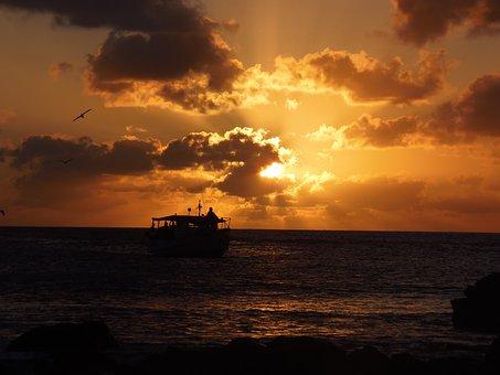 Sunset, Fernando De Noronha, Beach, Mar, Boat
