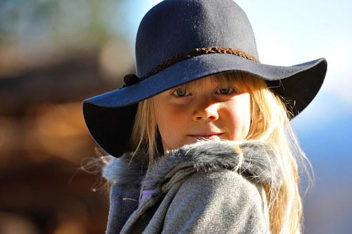 Child, Girl, Blond, Face, Hat, View, Self-conscious