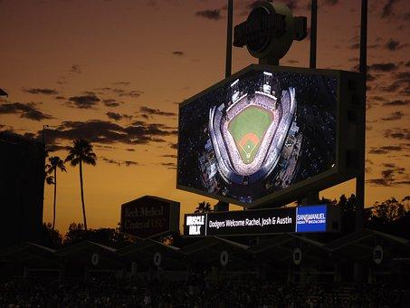 Dodgers, Night, Baseball, Stadium, Sign, Board