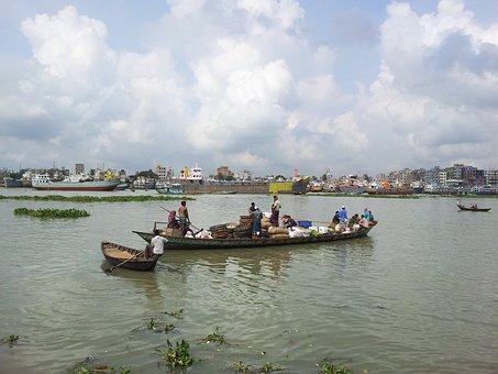 Bangladesh, Dhaka, Buriganga River, Boat, People, Asia