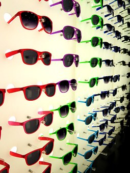 Sunglasses, Colorful, Mirror, Display Stand, Business