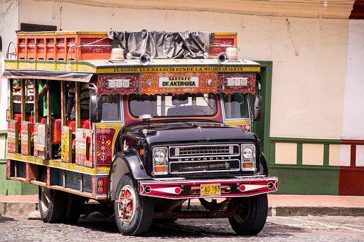 Colombia, Chiva, Car, Transport, Santafe De Antioquia