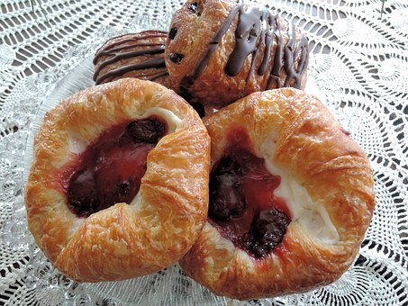 Chocolate Pastries, Fruit Cream Cheese Danish, Food