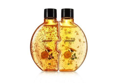 Shampoo, Liquid, Bottle, Tube, Yellow, Gold, Water