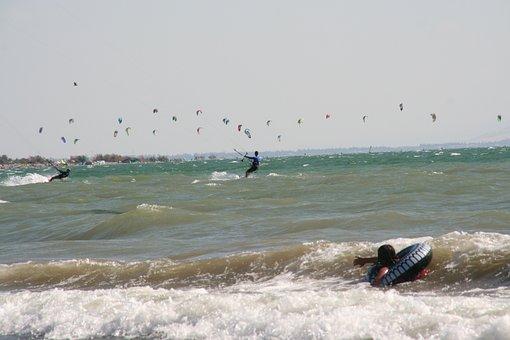 Kiteboarding, Sport, Ocean, Swimming, Waves, Sea