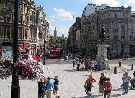 Square, Trafalgar, Statue, Charles I, People, Flower