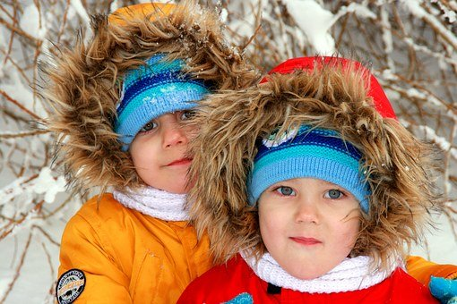 Twins, Brothers, Winter, Snow, Portrait, Smile