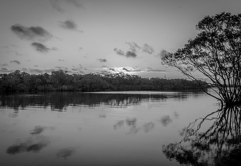 Landscape, River, Sunset, Reflection, Nature