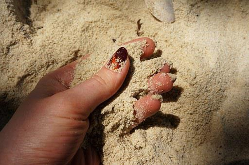 Hands, Manicure, Sand, Beach, Fingers, Yellow Sand