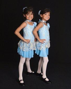 Twins, Girls, Recital, Dancer, Child, Sister