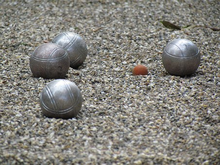 Boccia Court, Sand, Sphere, Game, Ball, Steel, Metal
