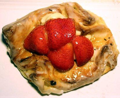 Cake, Strawberries, Danish Pastry, Pastries