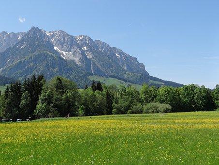 Kaiserwinkl, Tyrol, Mountains, Zahmer Kaiser, Snow