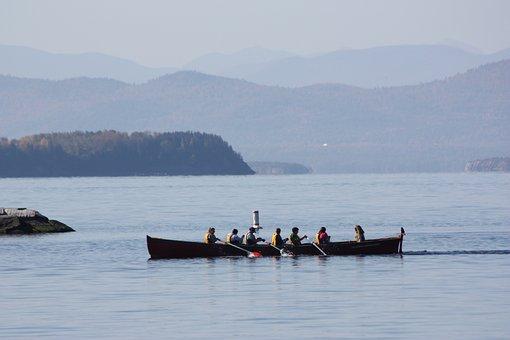 Rowing, Lake, Lake Champlain, Mountains, Water, Boat