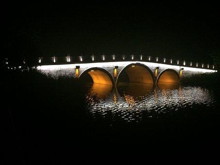 Night View, Baimahu, Arch Bridge, Hangzhou