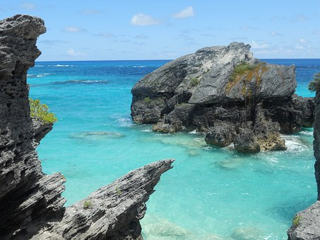 Bermuda, Blue, Water, Rocks