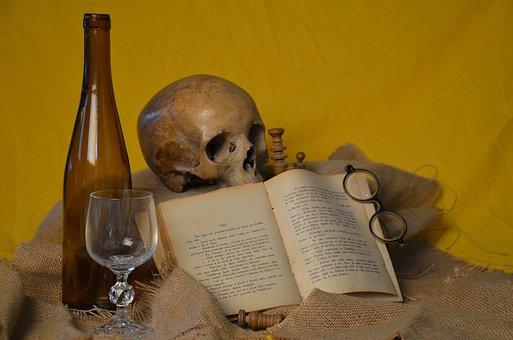 Book, Glasses, Skull, Bottle, Glass, Brown