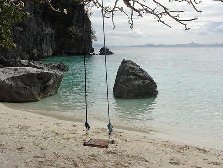 Swing, Nature, Peace, Calm, Beauty, Reflection, Sea