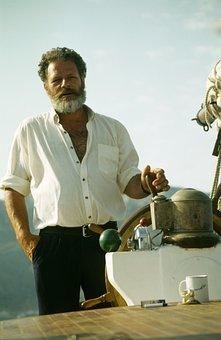 Captain, Greece, Man, Ship, Steering Wheel