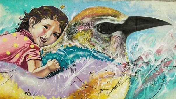 Graffiti, Colorful, Graffiti Wall, Child, Bird, Cyprus
