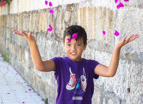 Child, Petal, Flying, Color, Fun, Freedom, Smile