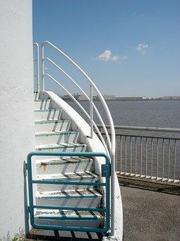Stairs, Hamburg, Elbe, Sun, White, Mouth Guard, Goal