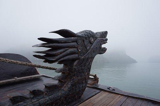 Halong Bay, Vietnam, Draak, Drakenkop, Boot, Bergen