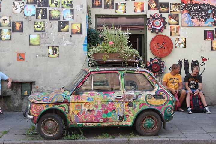 Car, Old, Colored, Historic Cars, Flower Bed, Plants