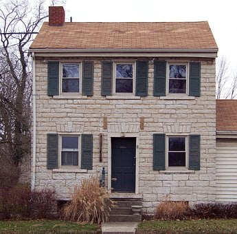 Home, House, Stone, Exterior, Front, Two Story