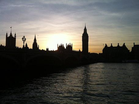 London, Big Ben, Evening, Thames, Sun, Sunset, Orange
