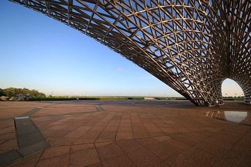 Building, Grid, Metal, Beach, Sea View Park
