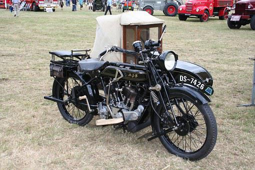 Motorcycle With Side-car, Antique Engine, Oldtimer
