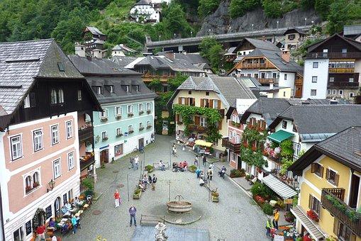 Hallstatt, Austria, Town, Market Square, People