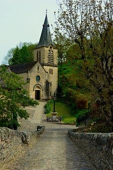Church, Bridge, Belcastel, Aveyron, Monument, Pierre